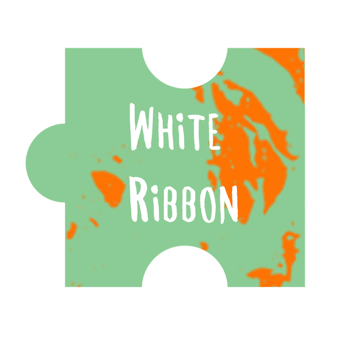 white ribbon puzzle piece